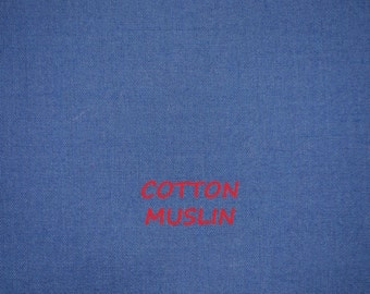 Medium Blue Muslin, Fine Plain Weave, Semi Sheer Craft or Fashion Fabric, Lightweight Cotton, half yard, B23