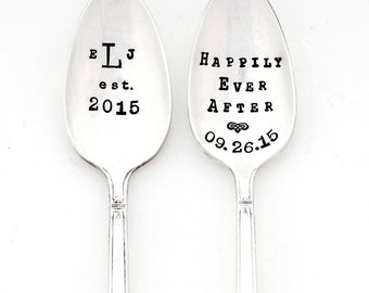 The Bridal Pair. Custom, Personalized Spoons with Monogram. Original Design by Sycamore Hill. Happily Ever After. His Hers, Coffee Lovers