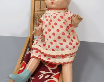 Patsyette Look Alike Doll - Vintage Composition, Painted Face, Molded Hair, Original Dress