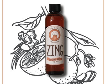 Organic Facial Wash -ZING- Sulfate Free, Paraben Free, All Natural, made with essential oils - Orange Ginger