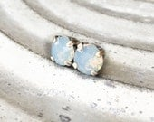 Everyday Post Earrings - Everyday Stud Earrings - Blue Opal Stud Earrings - Minimal Earrings - Crystal Studs - Moonstone Studs - Opal Studs