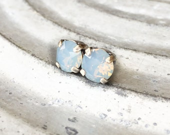 Blue Opal Earrings - Iridescent - Stud Earrings - 8mm