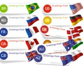 Greetings from Sticker Postcard ID Flag Sticker. Any Country Min Set of 45