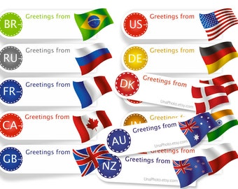 Greetings from Sticker Postcard ID Flag Sticker for Postcrossing. Any Country Min Set of 40