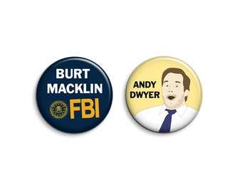 Andy Dwyer Set of 2 Badges - Parks and Rec Badges - Parks and Recreation Pinback Buttons or Magnets