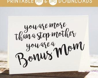 step mom card, step mom printable card, funny step mom card, bonus mom, step mom download, step mom digital card