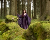 Medieval dress costume celtic medieval dark purple elven dress long sleeves