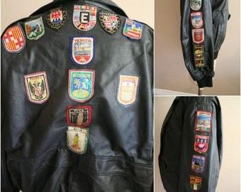 Vintage Black Leather Souvenir Patch Jacket - Size Medium/Large - Rare- Unique - Travel - Biker - London Paris Amsterdam Berlin Roma Monaco