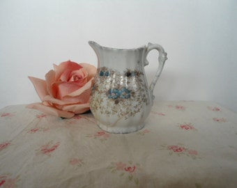 Vintage Transfer Ware Brown Blue Flowers Cream Pitcher 4 inch Grubby