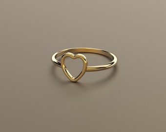 Heart Stacking Ring - Solid 14k, 18k Gold & Platinum. Valentine's Day Gift Idea for Her, Wife, Girlfriend