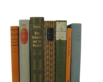 Green and Orange  Books, Old Green Books, Decorative Books, Vintage Home Decor, Centerpiece, Book Home Decor, Vintage Books, Instant Library