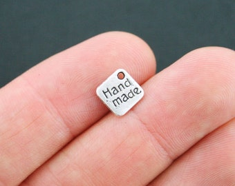 10 Hand Made Charms Antique Silver Tone - SC5071