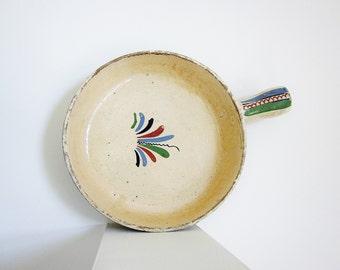 Mexican Folk Art Pottery Cookware Tlaquepaque Earthenware Vintage Mexicana Handled Bowl Jalisco Folk Art Cazuelas Boho Southwest Decor