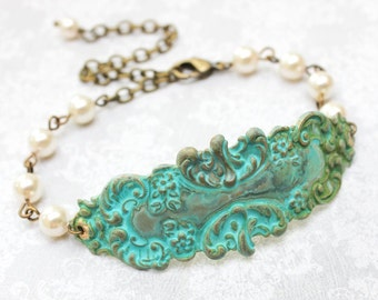 Rustic Patina Bracelet Bridesmaids Gift Bridal Jewelry Verdigris Cuff Ivory Cream Pearl Bracelet Green Teal Romantic Boho Chic Bohemian