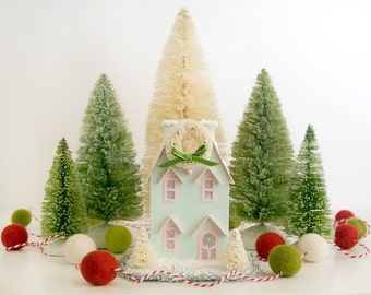 Putz House Christmas Ornament  Twin Gable Glitter House Mint Green/Pink Trim Vintage Style Christmas Decoration