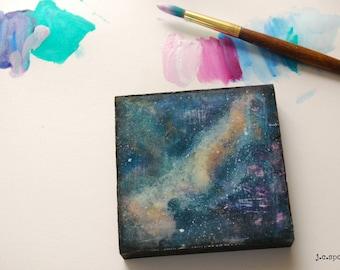 "Galaxy Painting, 4x4"" Abstract Painting, Mixed Media, Mini Art, Original Art, Abstract Mixed Media, blue purple peach ""Galaxy Series No. 5"""