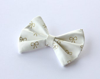 Gold Metallic Bow Hair Bow Vintage Inspired Clip Rockabilly Pin up Teen Woman Girl Alligator Clip, French Barrette