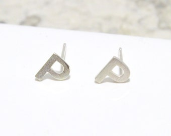 Sterling Silver 925 Initial Stud Earrings Small Letter P Stud Earrings Letter Earrings, Alphabet Earrings