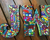 """12"""" Tall - Mosaic LETTERS/INITIALS - 'Wild & Funky' Style - Order 12"""" Size Letters Here / Only 10.00 Shipping on This Size or Larger - OOAK"""