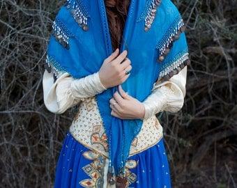 COIN WRAP 70s SCARF Belly Dancer Kerchief Blue Gypsy Hippie // Vintage Bohemian by TatiTati Style on Etsy