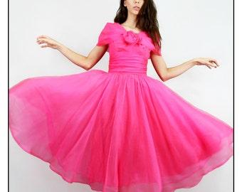 Dress 50's Vintage Silk CHIFFON Full Skirt Rose SHAWL COLLAR Rockabilly Dress // Vintage Dresses by TatiTati Style on Etsy