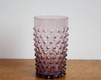 Vintage Purple Glass Hobnail Vase