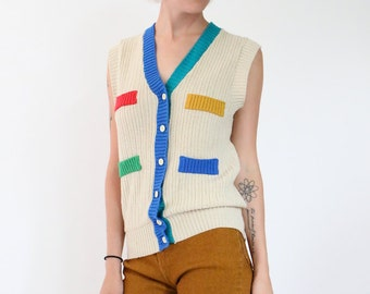 color block cardigan, sleeveless knit cardigan, beige teal green blue mustard yellow, vest, button front, minimal, womens small s 80s 1980's