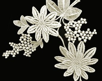 Vintage Ivory Embroidered Daisy Lace Applique