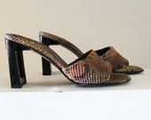 SALE 90s Stuart Weitzman leather snakeskin embossed sandal heel, size 8 1/2, made in Spain