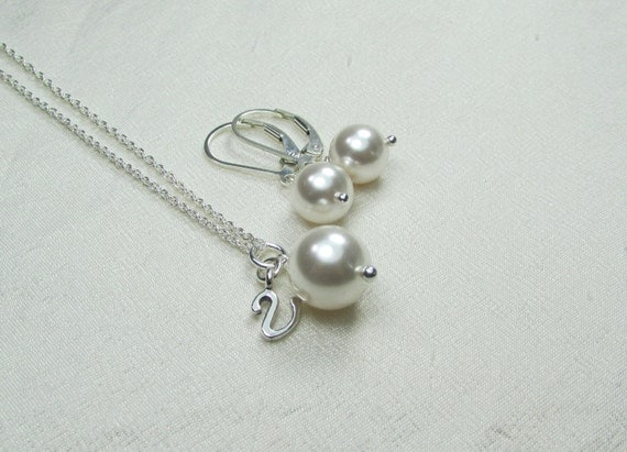 Bridesmaid Jewelry Initial Necklace Bridesmaid Necklace Earrings Personalized Bridesmaid Gift Pearl Bridal Jewelry Set Wedding Jewelry Set