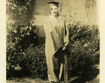 "Vintage Photo ""The A+ Grad"" High School College Graduation Teenage Girl Childhood Youth Americana Snapshot Paper Ephemera Vernacular - 152"