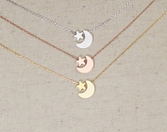 Star and Moon Necklace | Silver | Gold | Rose Gold | Minimalist | Mommy and Me | Mother Daughter | Gift for Her | Celestial