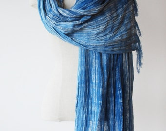 Hand painted cotton weave scarf, fringed shawl, woven wrap, indigo blue ombre