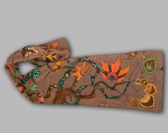 Middle Earth, fantasy scarf, LOTR, Silmarillion, Hobbit, Tolkien, elven art, fairy, woodland, goth, enchanted wood, autumn fall, terracotta