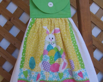 Easter Egg and Rabbit Kitchen Tea Towel LAST ONES Easter Hanging Dish Towel Easter Kitchen Towels SnowNoseCrafts