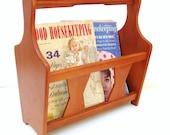 Vintage Wooden Magazine Rack / Wood Album Holder / Danish Modern Style / Milbern Creations
