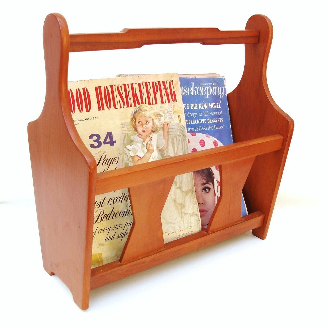 Wood Magazine Rack ~ Vintage wooden magazine rack wood album holder danish
