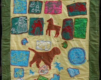 OOAK Antique African American Naive Folk Art Figural Story Quilt, one of a kind