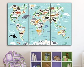 Kids Room Art Etsy - World map for kids room