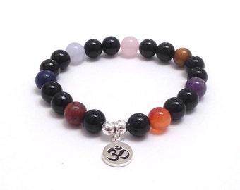 7 Chakra Bracelet Om Prayer Meditation Prayer Mala Bracelet Worry Beads, Gift on a Budget for her under 30, Amethyst, Rose Quartz, Tiger Eye