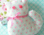 Shabby Chic Kitty Home Decor cute pastel blue cat handmade soft toy floral cat