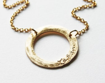Modern Gold Baby Name Necklace - Washer Ring Pendant with Monogram - Simple Elegant gift for Grandmother - Push Present