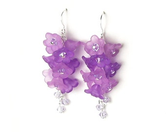 Cascading Violet Flower Cluster Swarovski Crystal Silver Earrings Purple Jewelry Lilac Bridesmaid Gifts Spring Wedding Floral Hyacinth Drop