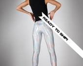 LAST: Leggings w. Jeans Back, Holographic Clothing, Festival Fashion, edm Rave Wear, Meggings, Futuristic Clothing, edc, by LENA QUIST