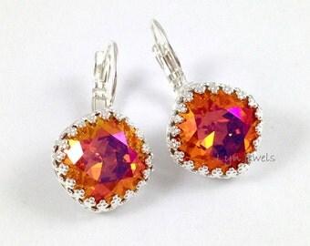 Astral Pink Earrings - Swarovski Crystal Cushion Cut Fire Opal Silver Leverback Earrings