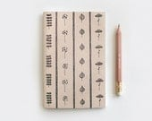 Autumn Gifts, Gardening Gift Brown Recycled Journal & Pencil Set, Illustrated Leaves and Flowers - 80 Pages Stocking Stuffer Floral Journal