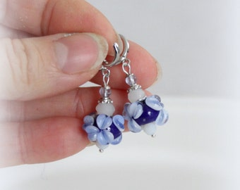 Blue Glass Lampwork Earrings - Blue Flower Earrings - Botanical Jewelry - Nature Garden Inspired - Gift for here - Glass Earrings