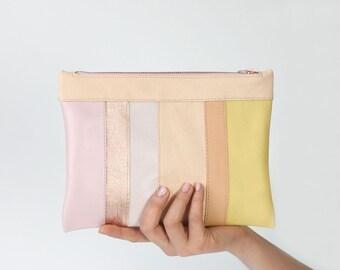 striped leather clutch, bridal clutch, bridal bag, pastel Zip Clutch, evening bag, leather purse