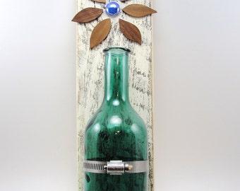 wood hanging vase bottle flower upcycled