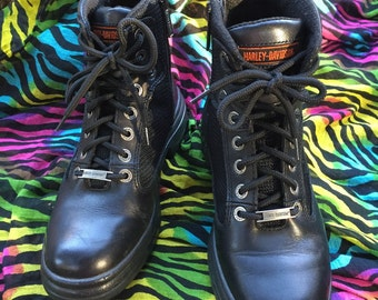 Vintage Harley Davidson Black Leather And Nylon Mesh Motorcycle Boots In A Womens Size US 8 ~  Look To Have Never Been Worn ~ Combat Style